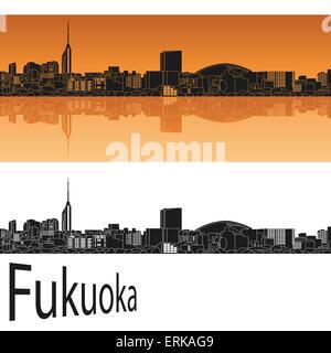 Skyline von Fukuoka in orangem Hintergrund in bearbeitbare Vektordatei - Stockfoto