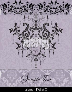 Vintage Einladungskarte mit reich verzierten eleganten abstrakten floralen Design, schwarz auf violett. Vektor-Illustration. - Stockfoto