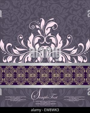 Vintage Einladungskarte mit reich verzierten eleganten abstrakten floralen Design, rosa lila. Vektor-Illustration. - Stockfoto