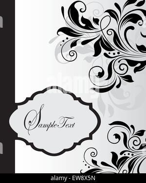 Vintage Einladungskarte mit reich verzierten eleganten abstrakten floralen Design, schwarz auf grau. Vektor-Illustration. - Stockfoto