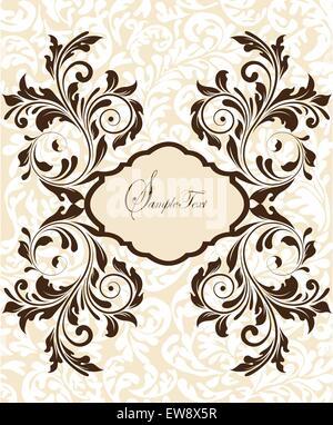 Vintage Einladungskarte mit reich verzierten eleganten abstrakten floralen Design, braun auf Fleisch. Vektor-Illustration. - Stockfoto
