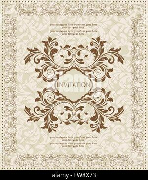 Vintage Einladungskarte mit reich verzierten eleganten abstrakten floralen Design, braun auf grau. Vektor-Illustration. - Stockfoto