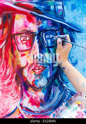 Las Palmas, Gran Canaria, Kanarische Inseln, Spanien. 4. Juli 2015. Letzten Schliff zu Johnny Depp Portrait als - Stockfoto