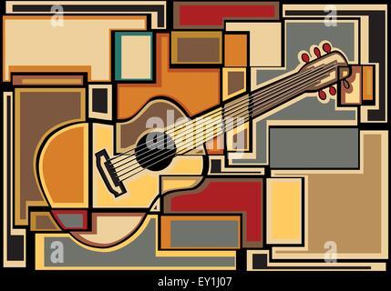 EPS8 bearbeitbares Vektor-buntes Mosaik Illustration einer akustischen Gitarre - Stockfoto