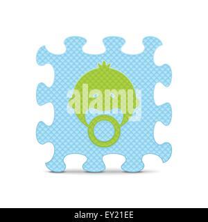 Baby-Zeichensprache, die mit Alphabet Puzzle - Vektor-illustration - Stockfoto