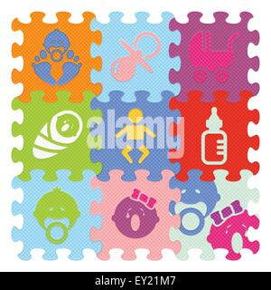 Baby-Zeichen gemacht mit Puzzle - Vektor-illustration - Stockfoto