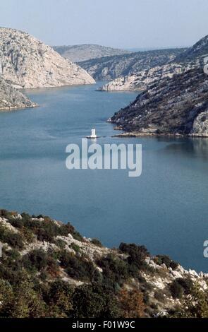Fluss Krka-Fjord nördlich von Sibenik, Dalmatien, Kroatien. - Stockfoto