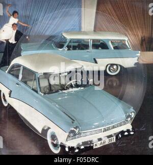 Verkehr/Transport, Auto, Fahrzeug Varianten, Ford Taunus 17M de Luxe, Werbung, Karte aufnehmen, Song 'Fahren auch - Stockfoto