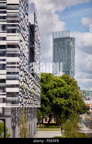 Betham Turm hinter Manchester Metropolitan University Platzes Campus ist Heimat der Faculty of Health, Psychologie - Stockfoto