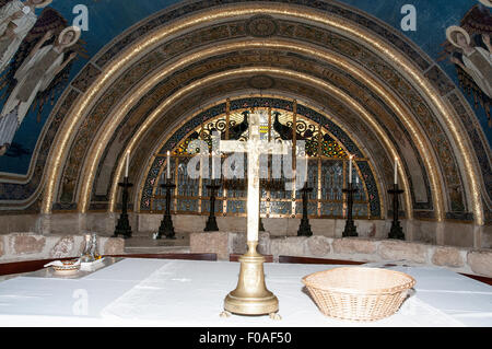 Innenraum der Franziskaner Kirche der Verklärung, Berg Tabor, Jezreel Senke, Galiläa, Israel (Architekt Antonio - Stockfoto