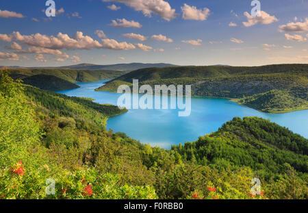 Flusslandschaft. Natioal Park Krka in Kroatien - Stockfoto