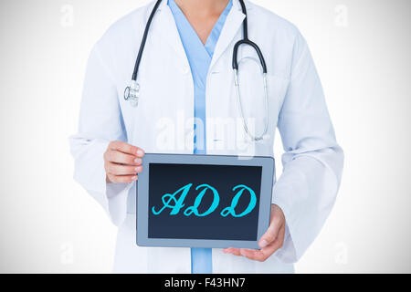 Fügen Sie gegen Arzt zeigt Tablet-pc - Stockfoto