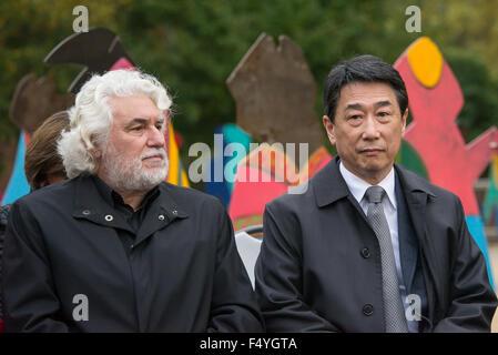Künstler Cristobal Gabarron (links) sitzt neben un-soziale und wirtschaftliche Ratsvorsitzende Oh Joon (rechts) - Stockfoto