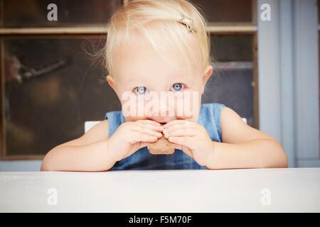 Porträt der niedliche blonde Babymädchen Blick in die Kamera, essen Schokolade Keks - Stockfoto