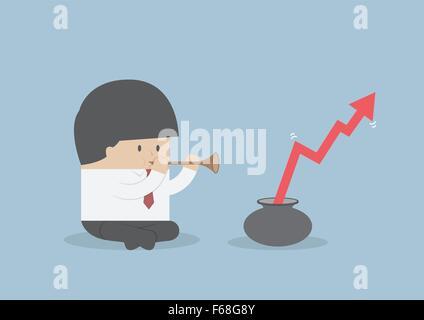 Geschäftsmann spielen Rohr für die Grafik wachsen, Vektor, EPS10 - Stockfoto