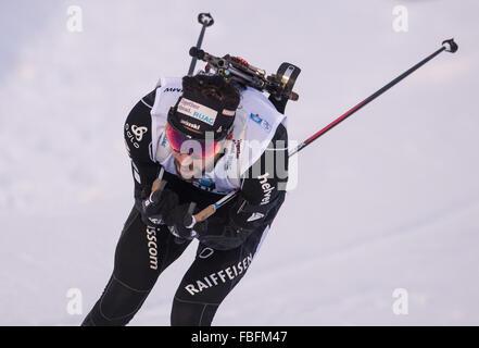 Ruhpolding, Deutschland. 13. Januar 2016. Benjamin Weger der Schweiz in Aktion während der Männer 20km Lauf bei - Stockfoto