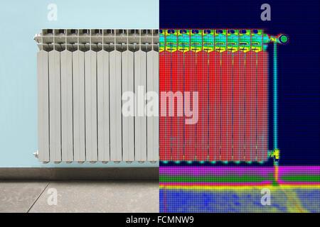 Infrarot-thermische und realen Bild der Heizkörper im Haus - Stockfoto