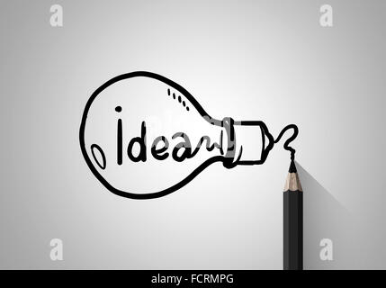 IDAE Konzept Bild mit Bleistiftzeichnung Glühbirne - Stockfoto