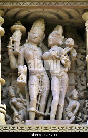 Lakshmi-Narayana an der Wand von Vamana Khajuraho Tempel Madhya Pradesh, Indien - Stockfoto