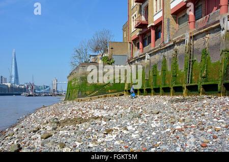 Wapping & Themse Vorland bei Ebbe zeigt alte Grundmauern am Flussufer Lagergebäude mit Tower Bridge & Shard über - Stockfoto