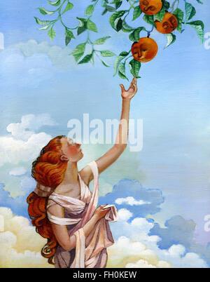 Mädchen nimmt Orangen vom Himmel - Stockfoto