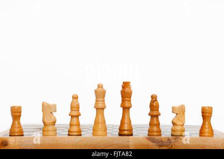 Weiß Schach Team aufgereiht - Stockfoto