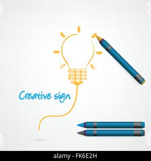 Bunten Bleistift Buntstifte mit kreativen Glühbirne Signieren auf Papier, Vektor-Illustration. - Stockfoto