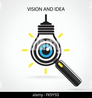 Visionen und Ideen zu signieren, Auge, Symbol, Symbol Glühbirne, Suchsymbol Geschäft concept.vector Abbildung - Stockfoto