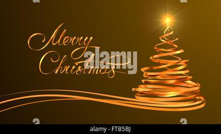 Gold Textgestaltung von Frohe Weihnachten und ein Weihnachtsbaum aus Gold Bänder auf gelbem Hintergrund - Stockfoto