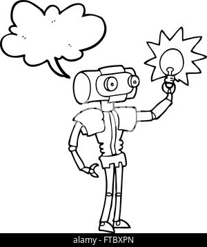 Freihändig gezeichnete Rede Blase Cartoon Roboter mit Glühbirne - Stockfoto