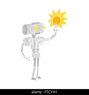 Freihand retro Cartoon Roboter mit Glühbirne - Stockfoto