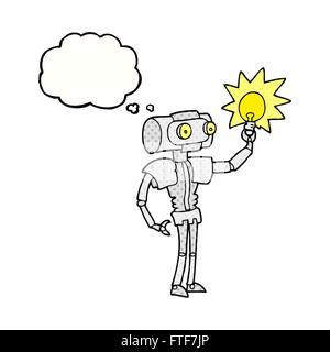Freihändig gezeichnete Gedanken Bubble Cartoon Roboter mit Glühbirne - Stockfoto