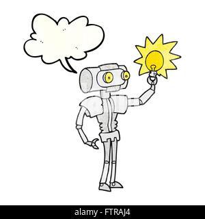 Freihand Rede Blase strukturierte Cartoon Roboter mit Glühbirne - Stockfoto