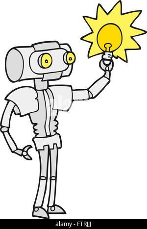 Freihändig gezeichnete Cartoon Roboter mit Glühbirne - Stockfoto