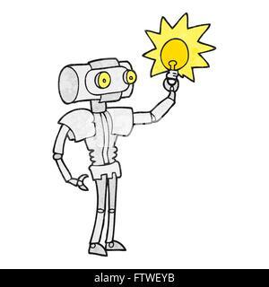Freihand strukturierte Cartoon Roboter mit Glühbirne - Stockfoto