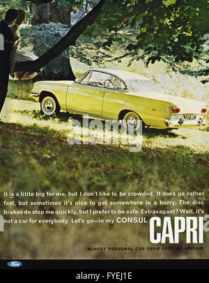 Original alte Vintage 1960er Jahre ganzseitige Farbe Magazin Anzeige datiert 1962. Werbung Werbung Neuwagen von - Stockfoto