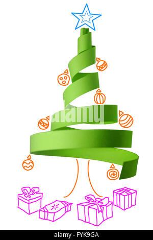 Weihnachtsbaum aus Papier hergestellt - Stockfoto