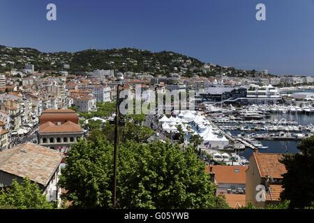 Cannes, Panoramablick von der Burg mit marina - Stockfoto