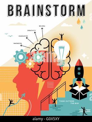Brainstorming-Konzept Abbildung in flache Linie Kunst mit Elementen arbeiten, seitlich kreatives Denken Design ideal - Stockfoto