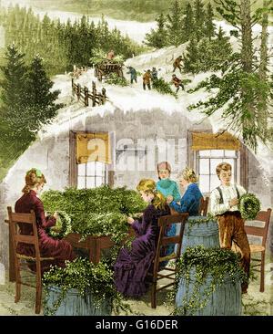 """Unter dem Titel: """"Vorbereitung Weihnachten Grüns. Kränze zu machen. """" Holzstich mit vier Frauen und ein Junge Kränze - Stockfoto"""