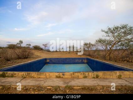 Leeren Sie Pool in einem Hotel, Afar Region, Awash, Äthiopien - Stockfoto
