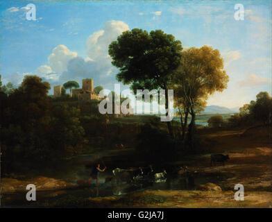Claude_Lorrain_-_Villa_in_the_Roman_Campagna - Museum der schönen Künste, Budapest - Stockfoto