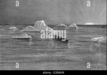 Der Beginn die Titanic-Tragödie gefolgt.         Datum: 1912 - Stockfoto