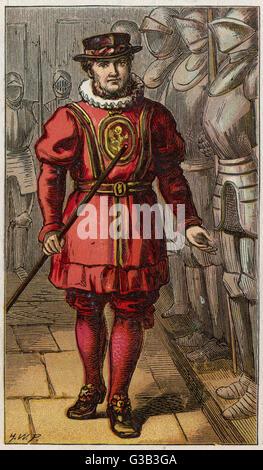 """London-Zeichen: ein Yeoman Of The Guard oder """"Rindfleisch-Esser"""", wenn er den Tower of London vom britischen Gegner - Stockfoto"""