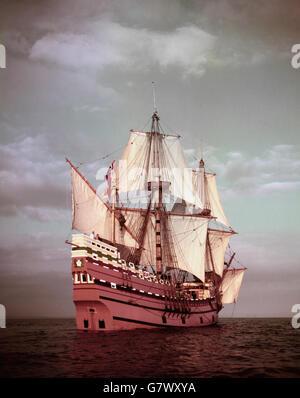 Geschichte - Mayflower Replica - Brixham - Stockfoto