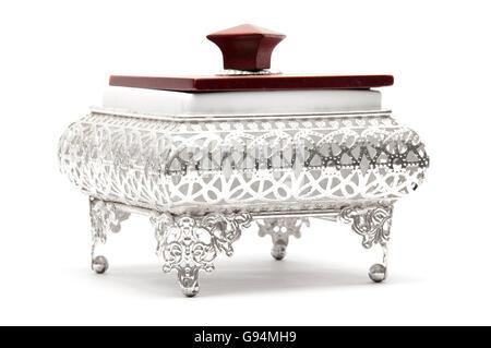 Silberschale auf weiß dekoriert - Stockfoto