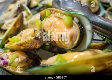 Haufen von frischen gewürzten Muscheln Muscheln auf Eis kalt serviert - Stockfoto