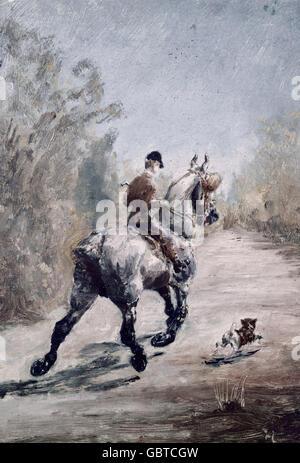 """Bildende Kunst, Toulouse-Lautrec, Henri de (1864-1901), """"Pferd und Reiter mit ein wenig Dog"""", 1879, Museum Albi, - Stockfoto"""