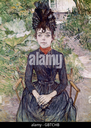 "Bildende Kunst, Toulouse-Lautrec, Henri de (1864-1901), Malerei, ""Justine Dieuhl"", Öl auf Leinwand, 1891, Jeu de - Stockfoto"