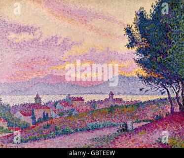 """Bildende Kunst, Signac, Paul (1863-1935), Malerei, 'Ansicht von St. Tropez"""", Öl auf Leinwand, 1896, Musee de L'Annonciade, - Stockfoto"""